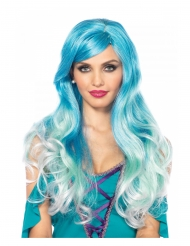 Meerjungfrauen-Perücke für Damen Pastell hellblau-dunkelblau