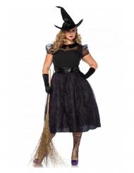 Elegantes Hexenkostüm in Übergröße Halloween schwarz