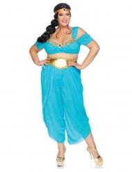 Orientalische Wüsten-Prinzessin in Übergröße Faschings-Verkleidung blau