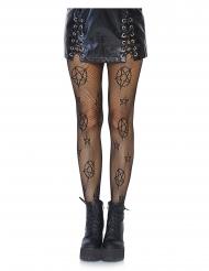 Netzstrumpfhose mit Pentagramm-Motive Kostüm-Accessoire schwarz