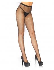 Netzstrumpfhose mit Strasssteinen für Damen Kostümzubehör schwarz-silber