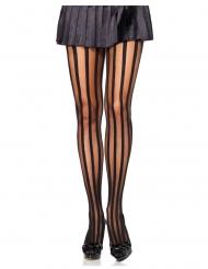 Strumpfhose mit Längsstreifen Kostüm-Accessoire schwarz-transparent