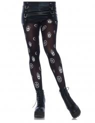 Mystische-Strumpfhose für Damen Kostüm-Accessoire schwarz-weiss