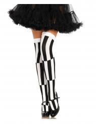 Overknees-Strümpfe für Damen Kostüm-Accessoire gemustert schwarz-weiss