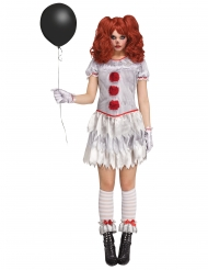 Horrorclown-Kostüm für Damen grau-rot
