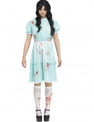 Gruseliges Geister-Zwilling-Damenkostüm für Halloween blau-rot