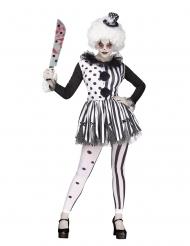 Mörderclown-Kostüm für Damen schwarz-weiss