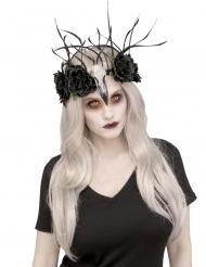 Krähen-Hexe Kopfschmuck mit Rosen für Halloween schwarz-grau