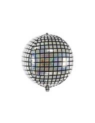 Discokugel-Ballon schwarz-silbern 40 cm
