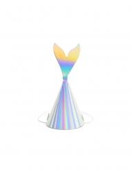 Partyhüte mit Flossen für Meerjungfrauen 6 Stück bunt 18 cm