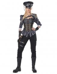 Offizierin Steampunk-Kostüm für Damen Karneval-Verkleidung grau-schwarz