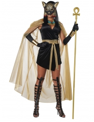 Hochwertiges Bastet-Kostüm Ägyptische-Verkleidung schwarz-gold