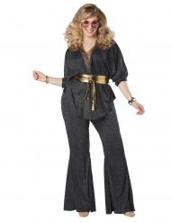 70er-Jahre Disco-Damenkostüm für Karneval in Übergröße schwarz-gold