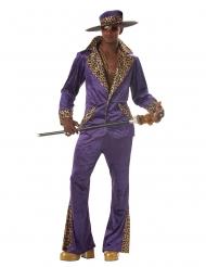 Schrilles 70er-Jahre Disco-Kostüm für Herren lila-weiss-schwarz