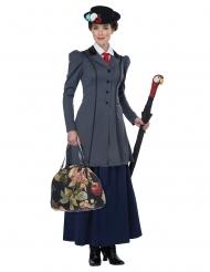 Englische-Nanny Damenkostüm für Karneval grau-blau-schwarz