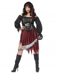 Hübsches Piratinnen-Kostüm für Damen in Übergröße schwarz-gold-rot