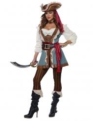 Stilvolles Piratinnen-Damenkostüm für Karneval Freibeuterin braun-blau-weiss