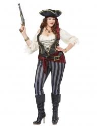 Hübsches Piratinnen-Kostüm in Übergröße für Damen rot-schwarz-blau