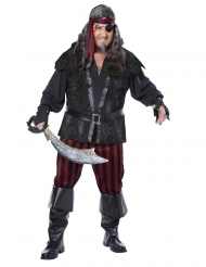 Freibeuter Piraten-Kostüm für Herren in Übergröße Karnevals-Kostüm schwarz-rot