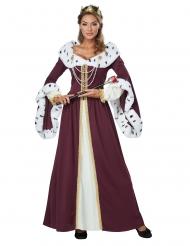 Königliches Damenkostüm für Karneval Märchen bordeaux-weiss-goldfarben