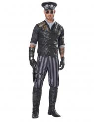 Steampunk-Captain Herrenkostüm schwarz-grau-goldfarben