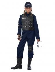 SWAT-Kinderkostüm mit Brustpanzer Karnevals-Verkleidung blau-schwarz