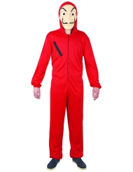 Bankräuber-Kostüm für Jugendliche Overall rot-schwarz