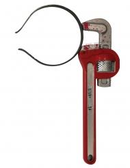 Blutiger Schraubschlüssel-Haarreif Halloween-Accessoire grau-rot