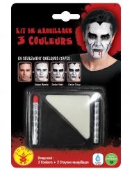 Schminkset Halloween schwarz-weiss-rot 3-teilig