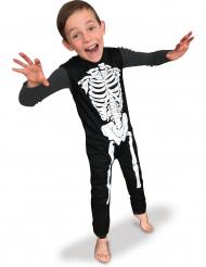 Skelett-Kostüm für Jungen Halloween-Overall schwarz-weiss