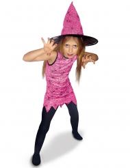 Freche Spinnen-Hexe Mädchenkostüm für Halloween rosa-schwarz