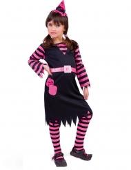 Niedliches Hexenkostüm für Mädchen Halloween schwarz-pink