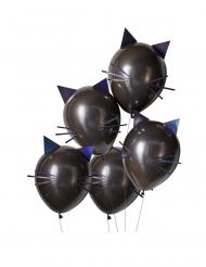 5 Katzenballons aus Latex schwarz 30 cm