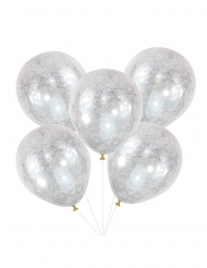Latexballons mit Engelshaar Raumdekoration 5 Stück gold-weiss 30cm