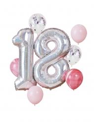 Party-Ballons 18.Geburtstag Ballon-Set 8-teilig silberfarben-rosa