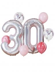 30. Geburtstag Luftballon-Set 8-teilig silber-rosa-roségold