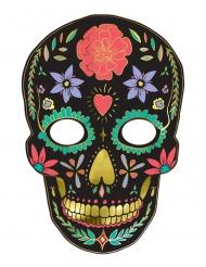 Tag der Toten Halloween-Pappmaske bunt 19x28cm