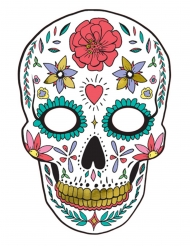 Dia de los Muertos-Pappmaske für Halloween bunt 19x28cm