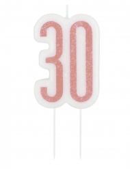 Glitzer-Geburtstagskerze 30. Geburtstag rosafarben-weiß 7 cm