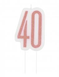 Glitzernde Geburtstagskerze Kuchendeko 40. Geburtstag rosa-weiß 7 cm