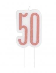 Geburtstags-Kerze 50 Jahre Kuchendeko glitzernd rosa 7 cm