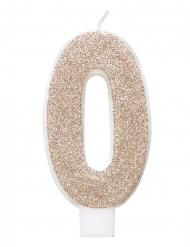 Glitzernde Geburtstagskerze champagnerfarben 7 cm