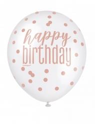 Gepunktete Geburtstags-Latexballons 6 Stück weiß-rosa 30 cm