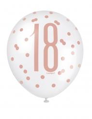 Gepunktete Luftballons 18. Geburtstag 6 Stück weiß-rosa 30 cm