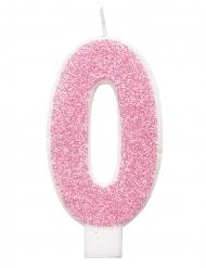 Glitzernde Geburtstagskerze girly pink-weiß 7 cm
