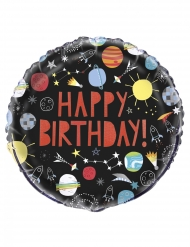 Weltall Happy Birthday-Ballon Raumdekoration bunt 45 cm