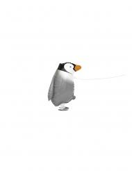 Beweglicher Pinguin-Folienballon für Kindergeburtstage grau-schwarz-weiss 48cm