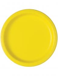 Fröhliche Pappteller gelb 20 Stück 18 cm