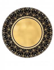 20er-Jahre Pappteller Tischzubehör für Mottopartys 8 Stück goldfarben-schwarz 27 cm