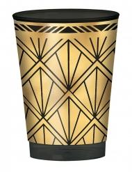 Stilvolle 20er-Jahre-Trinkbecher Mottoparty 20 Stück gold-schwarz 295 ml